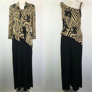 Joseph Ribkoff Maxi Dress Set Jacket Black Gold